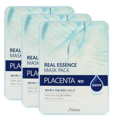 Тканевая маска с плацентой JUNO Real essence mask pack placenta 25мл*3шт: фото