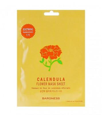 Тканевая маска успокаивающая с экстрактом календулы BARONESS Flower Mask Sheet Calendula 23 г: фото