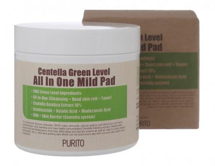 Пилинг-диски с центеллой PURITO Centella Green Level All In One Mild Pad 70шт: фото