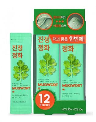 Маска для лица пузырьковая с полынью Holika Holika Pure Essence Mugwort Bubble Cleansing Pack 5г*12шт: фото