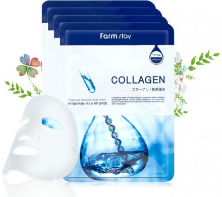 Маска для лица с коллагеном FARMSTAY COLLAGEN VISIBLE DIFFERENCE MASK SHEET 23мл*5шт: фото