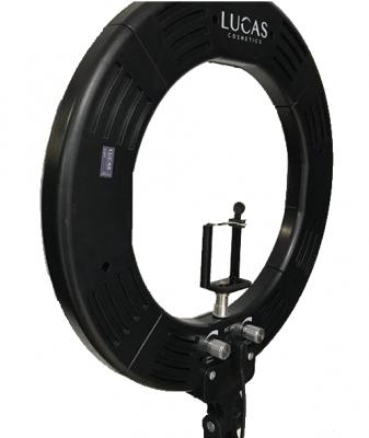 Лампа кольцевая светодиодная 12' Lucas' Cosmetics, черная: фото